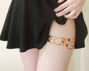 Pumpkin Ava Heart Thigh Garter // Adjustable Suspender Body Harness Lingerie Accessory, Halloween Aesthetic