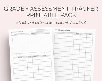 Student Grade, Assessment and Project Tracker Printable Pack | A4, A5 and Letter | College, High School, Education Planner Discbound Insert