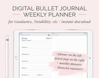 2018 Digital Bullet Journal Weekly Planner | Customisable GoodNotes DigiBujo Hyperlinked Organiser | iPad Tablet Calendar | Instant Download