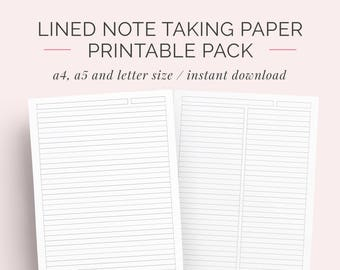 lined paper student note taking printable set a4 a5 and letter instant download note paper notebook discbound notes