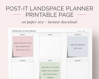 Post-It Note Weekly Planner Printable | Reuseable Landscape Week Organiser | Agenda, Schedule, Dashboard | Instant Download | A4