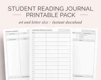 Reading Journal Log | Book and Novel Diary | Student University College Book Summariser | Instant Download | A4 and Letter | Discbound