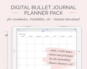 2018 Digital Bullet Journal Planner | Customisable GoodNotes DigiBujo Hyperlinked Organiser | iPad and Tablet Calendar | Instant Download