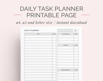 Daily Schedule Planner | To Do List Printable | Day Organiser | Planner and Discbound Insert | A4, A5 and Letter | Instant Download