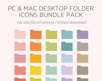Desktop Folder Icons   Customisable Icons Pastel Pack   Windows and Mac OS Systems    Instant Download   Laptop, Desktop, PC, Mac Organiser