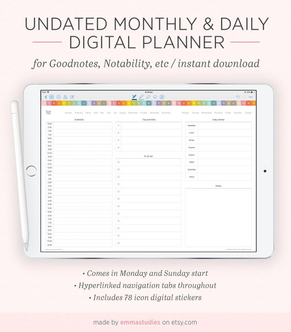 image relating to Digital Day Planner named Electronic Day by day and Thirty day period Year Undated Planner Package deal Everyday, Regular, Annually Hyperlinked Organiser iPad Pill Calendar Fast Obtain