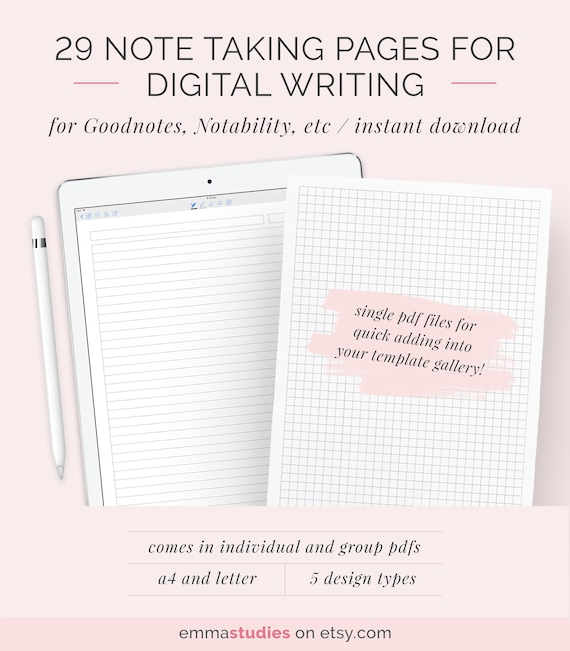 Digital note taking paper template goodnotes notability ipad etsy image 0 maxwellsz