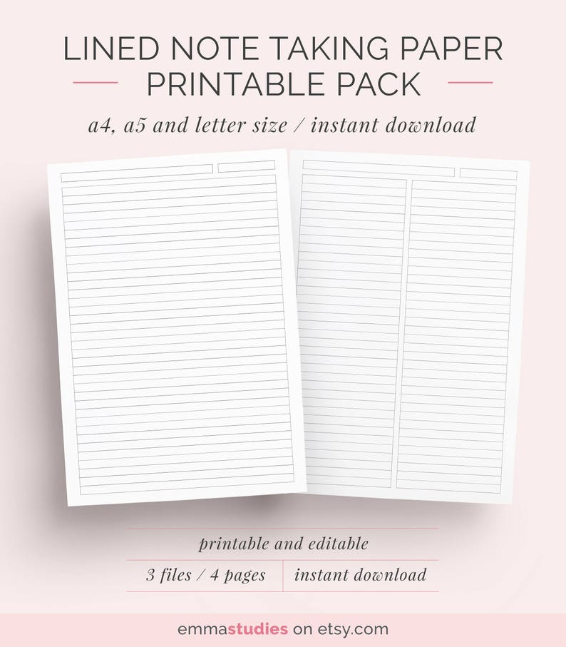 image about Printable Note known as Covered Paper College student Take note Getting Printable Fastened A4, A5 and Letter Quick Down load Take note Paper, Laptop, Discbound Notes