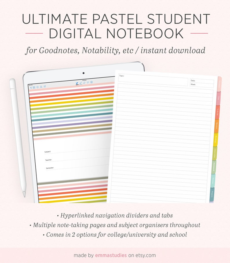 Digital Student Notebook | Student Planner Organiser Subject Notebook |  Digi iPad Tablet GoodNotes Notability | Instant Download