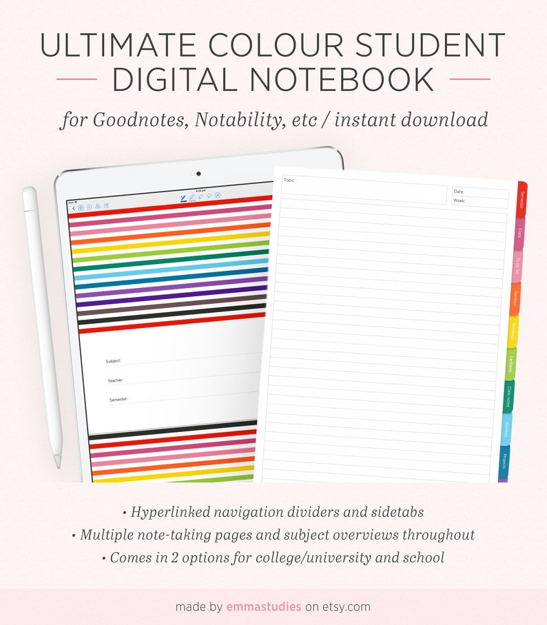 Digital Student Notebook | Student Planner Organiser Subject Colourful  Notebook | Digi iPad Tablet GoodNotes Notability | Instant Download