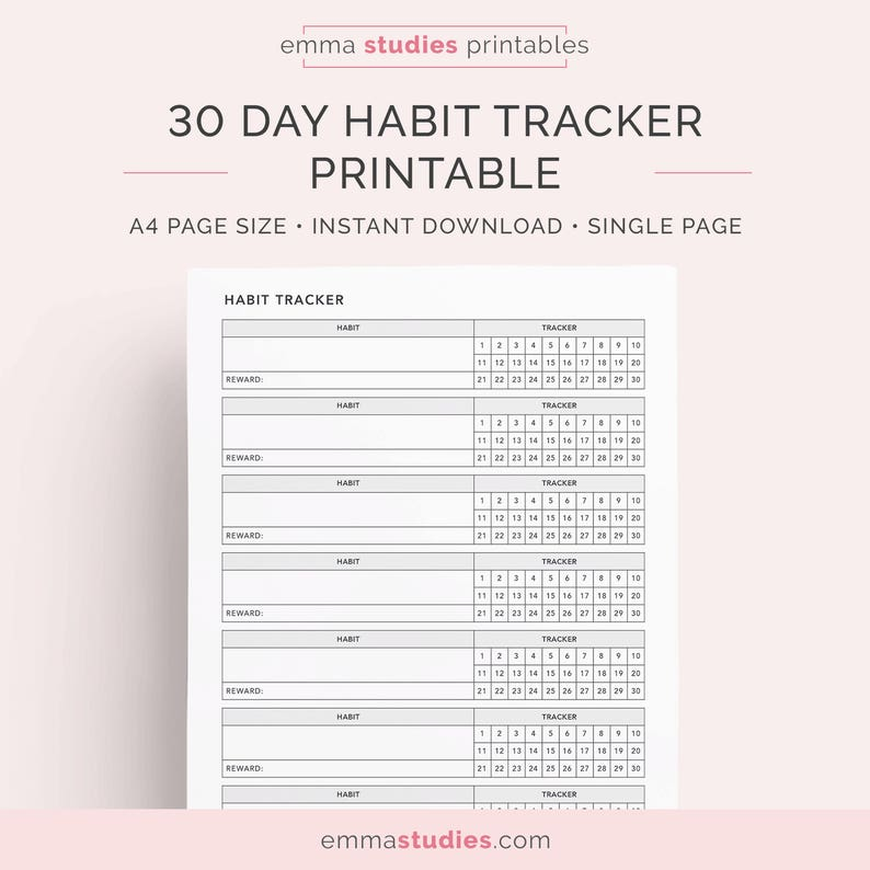 picture regarding Habit Tracker Printable identified as 30 Working day Month to month Routine Tracker Printable A4