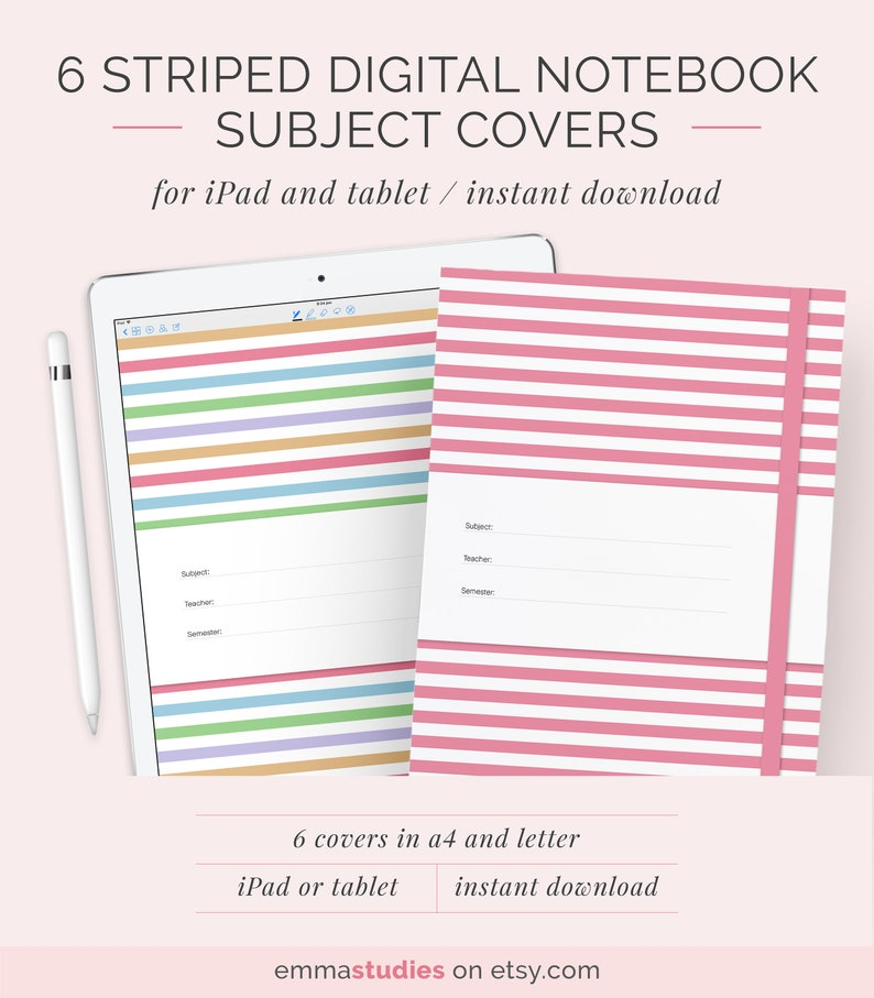 Digital Notebook Cover Template | A4 and Letter | Pastel Subject Cover |  Tablet or Printable | Instant Download | Planner College Notebook