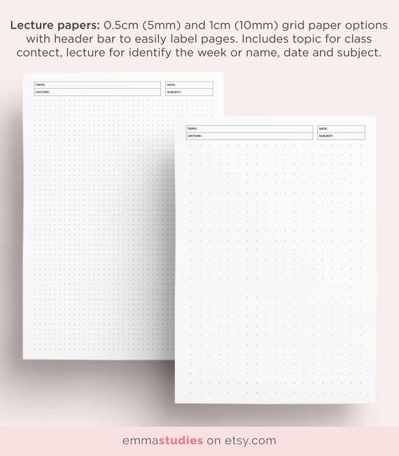 student note taking template printable pack a4 a5 and etsy