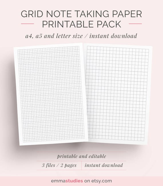 Graph Grid Paper Student Note Taking Printable Set A4 A5 Etsy