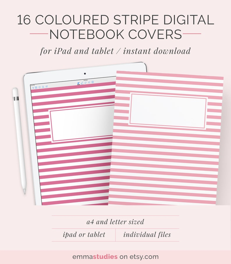 16 Digital Notebook Cover Template A4 And Letter Subject