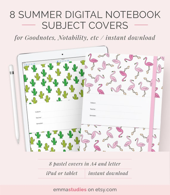 8 digital notebook cover template for goodnotes notability etsy
