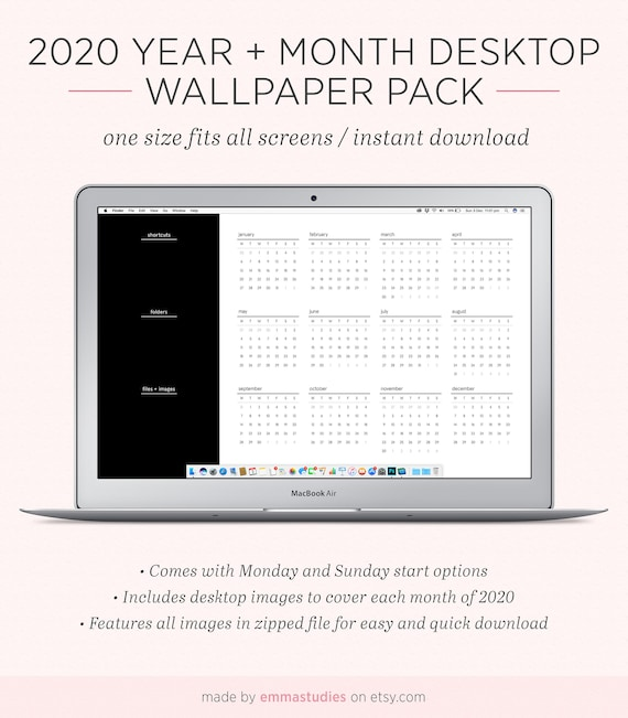 2020 Year And Month Calendar Desktop Wallpaper Background Etsy