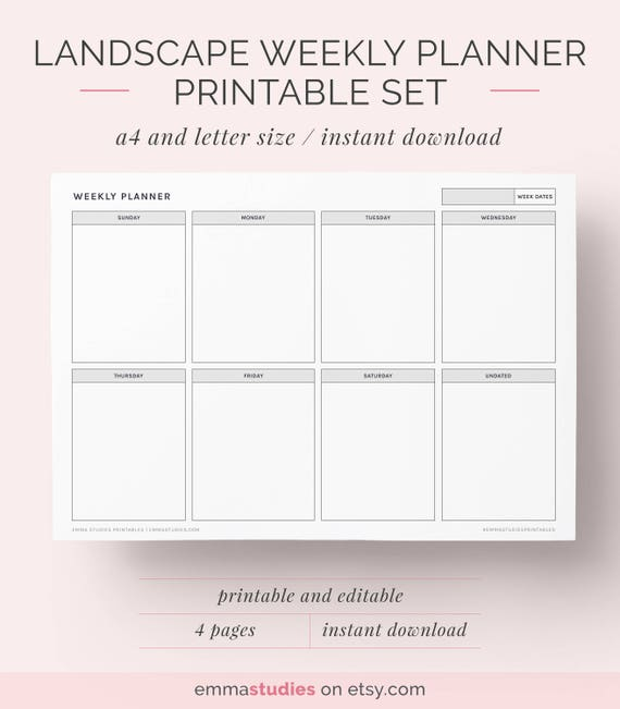 weekly landscape planner printable a4 and letter planner etsy