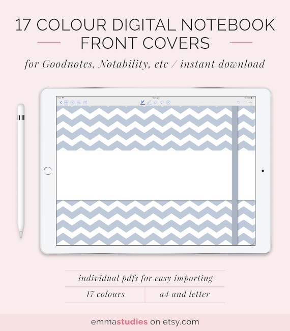 digital landscape notebook cover template a4 and letter etsy