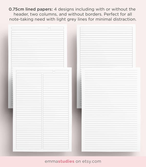 Student Note Taking Template Printable Pack A4 A5 and | Etsy
