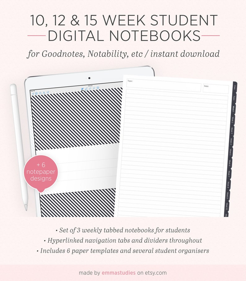 Digital Student Weekly Notebook | Semester Term Planner Organiser Notebook  | Digi iPad Tablet GoodNotes Notability | Instant Download
