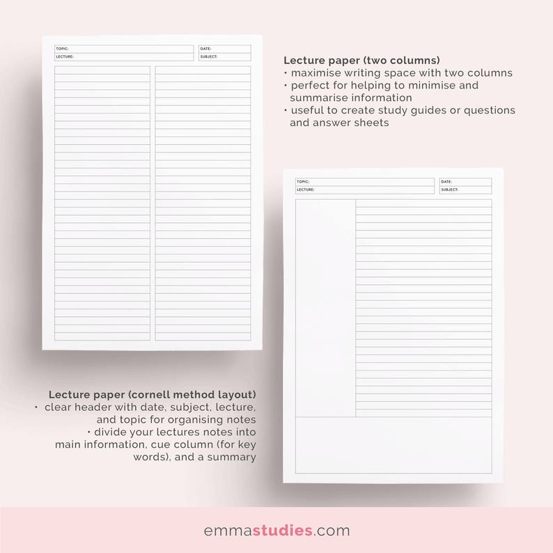 Student Lecture Note Taking Printable   A4, A5, and Letter   Lined, Dot,  Grid, Cornell Note Paper   School, College and University Notebook