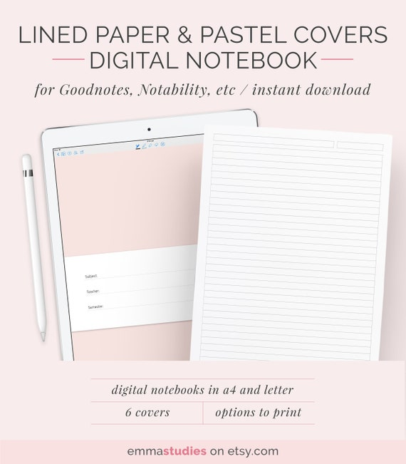 Digital Lined Paper Notebook Ruled Paper Template A4 And Etsy