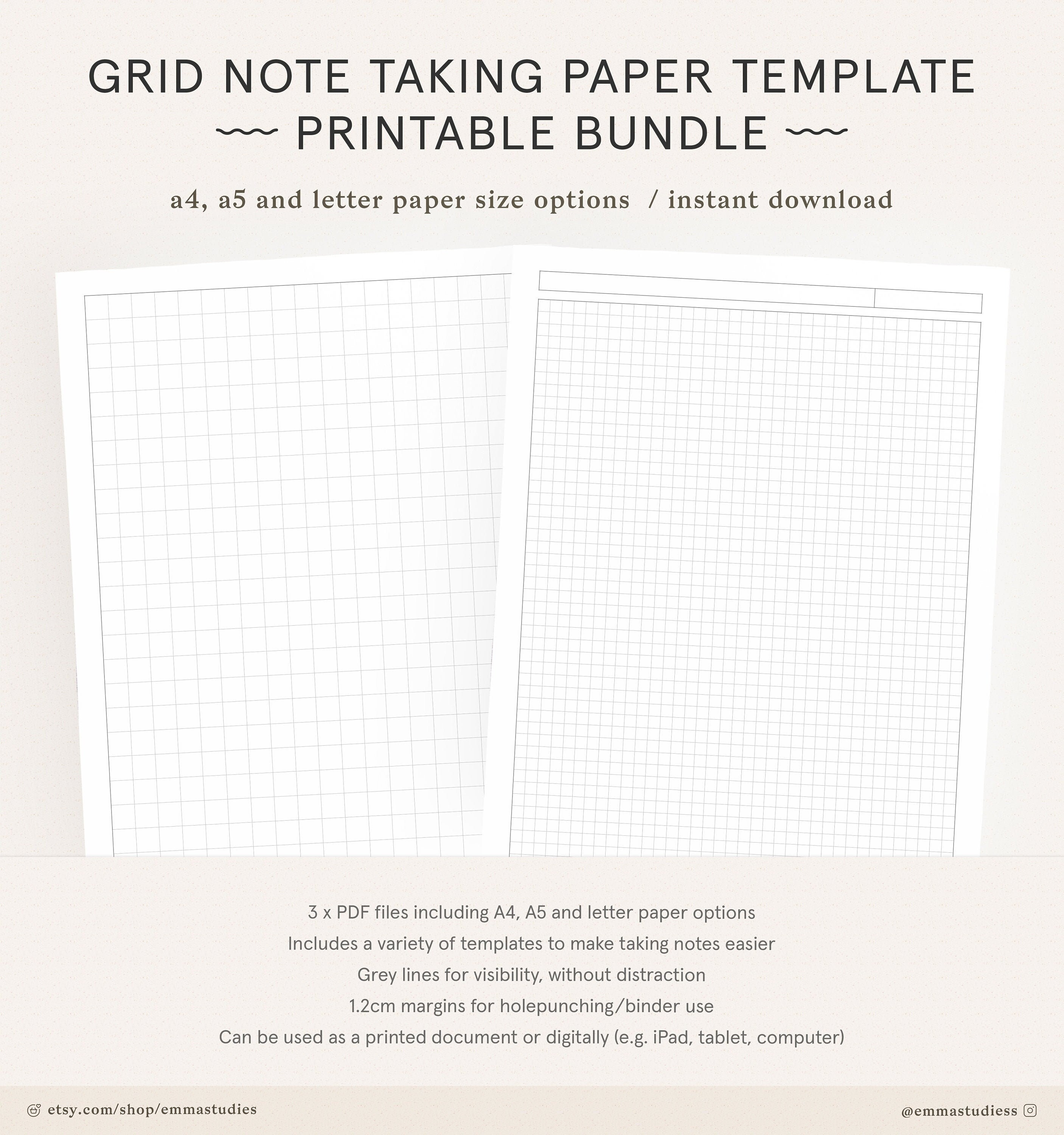 Grid Paper Student Note Taking Printable Set Squared Grid Etsy
