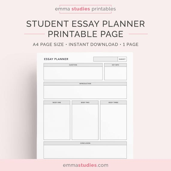 Essay planner for students college university and high etsy