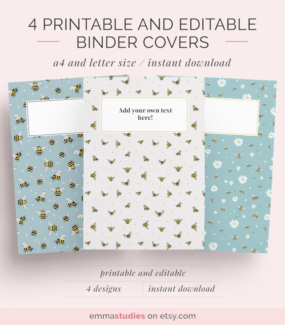 Printable Editable Binder Covers A4 And Letter Folder Covers Student College Binder Organisation Instant Download