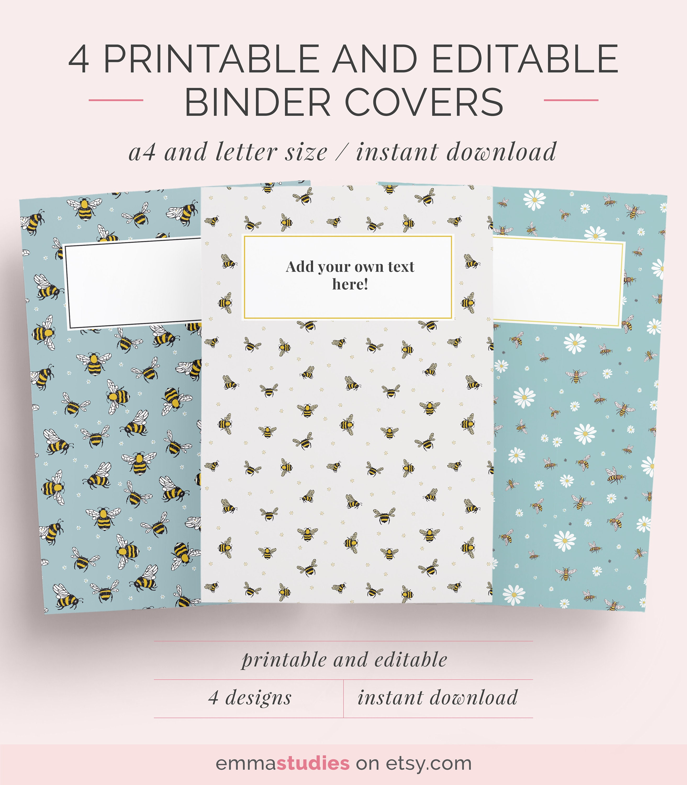 printable editable binder covers a4 and letter folder etsy