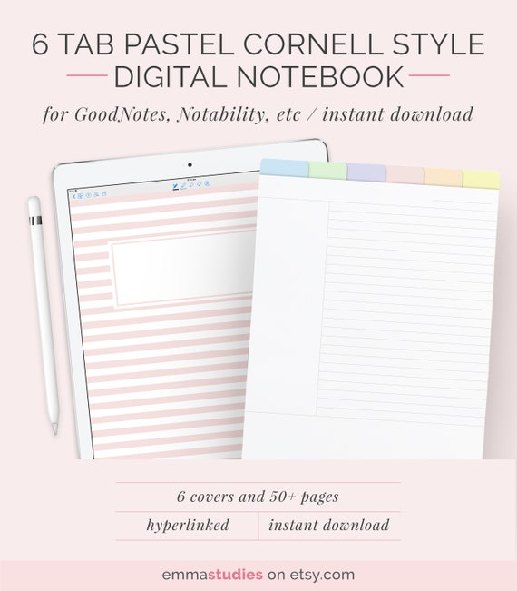 Digital 6 Tab Cornell Method Student Notebook Template Etsy