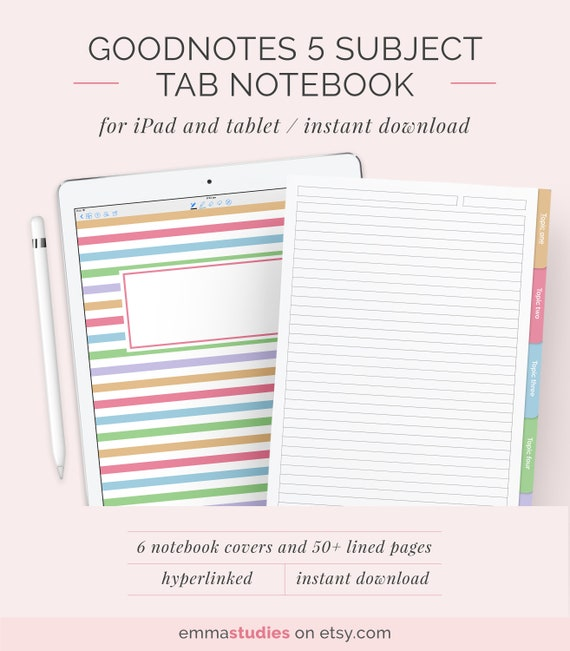 Notebook Template | Goodnotes 5 Subject Student Notebook Template Digital Lined Etsy