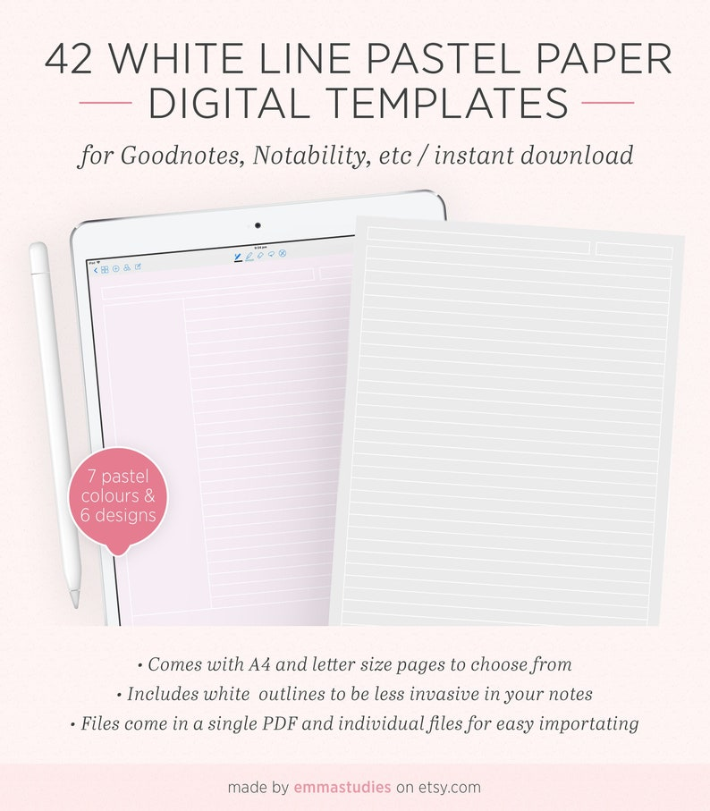 Digital Note Taking Pastel Paper Template | Goodnotes Notability iPad  Tablet | Lined Grid Dotted Cornell College Notebook Pages | A4 Letter