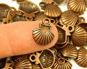 10 Pcs - 14x11.5mm Tiny Antique Copper Seashell Charms - Tiny Charms - Jewelry Supplies