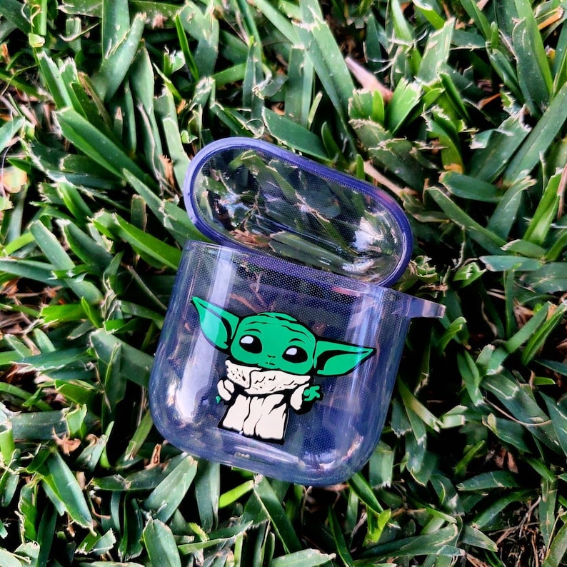 Custom Airpods Case Baby Yoda inspired Clear TPU Airpods Case