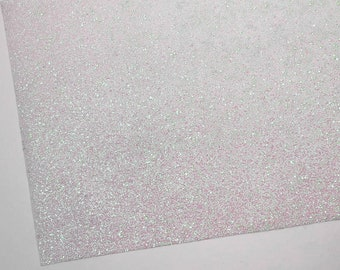 FLAWED Iridescent Baby Pink Fine Glitter Fabric Sheet 8X11 on White Spandex Material