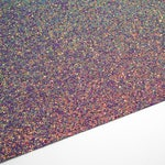 FLAWED Pixie Dust Iridescent Extra Chunky Glitter Fabric Sheet 8X11 on Black Lycra Material, Color Changing, Bow Fabric