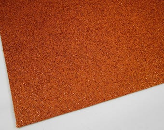 FLAWED Orange Fine Glitter 8X11 Fabric Sheet, Matching Backing