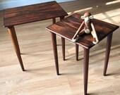 Set of two rosewood nesting side tables by Hovmand Olsen, Danish Midcentury Modern, Vintage