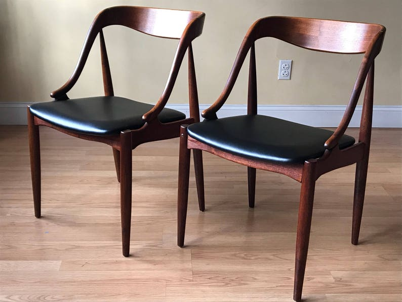 Brilliant Set Of Two Johannes Andersen Teak Dining Side Chairs Desk Chairs Bralicious Painted Fabric Chair Ideas Braliciousco