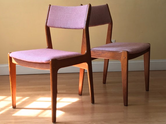 Set Of Two Scandinavian Woodworks Teak Dining Chairs In Knoll Etsy