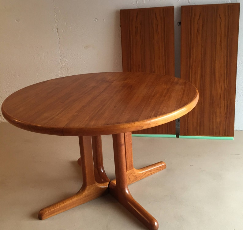 Large Danish Ansager Mobler Teak Dining Table With 2 Leaves Etsy