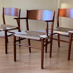 in Teak and new Danish Paper Cord. side chair, desk chair, bedroom chair 2 Poul Cadovius Teak Pia Chairs