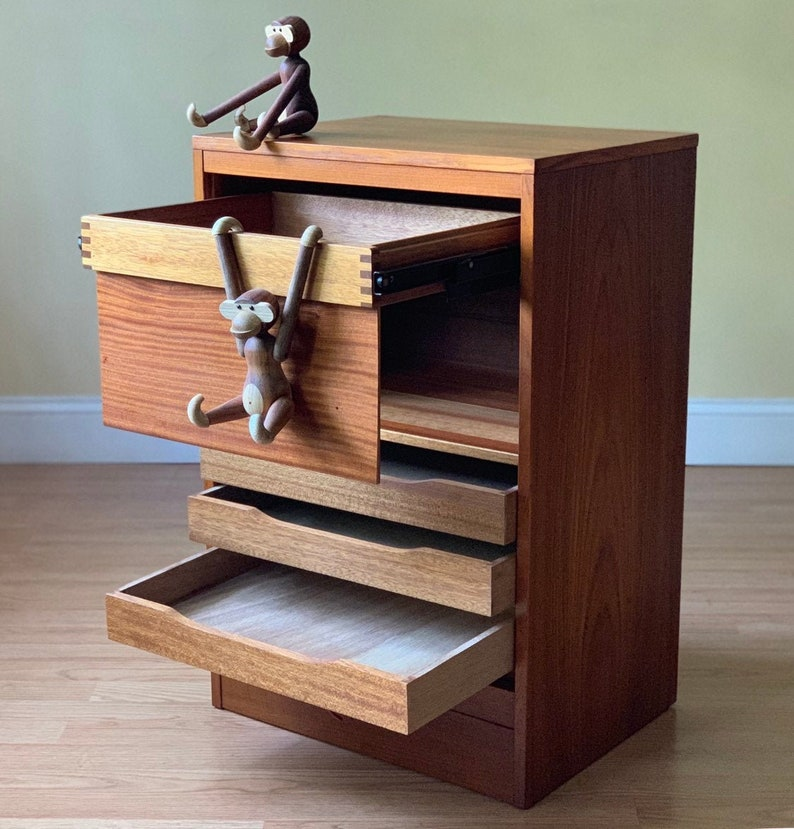 Danish Modern Teak File Cabinet With Tambour Door And Lock