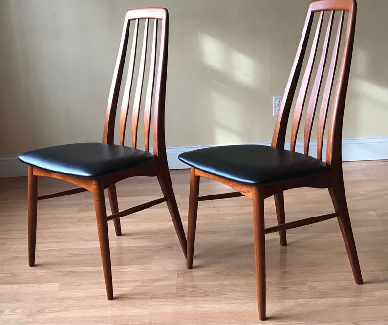 set of eight more available desk chair, dining chair, bedroom chair ONE Eva dining side Chair by Neils Koefoed in Afrormosia and Teak