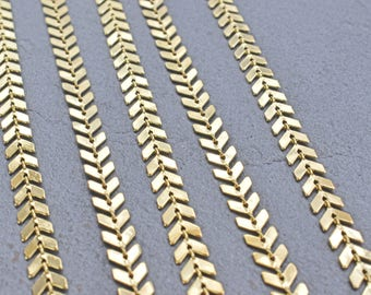 1 Foot Bright Gold 13mm Fishbone Links Gold Plated Brass Bulk Chain