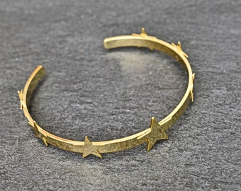 24f8e7287 Star bangle, BSH-02G, 1pc, 16K gold plated brass, 4mm wide, 1.2mm thick,  Inner 57mm, Star bracelet, Good for charms