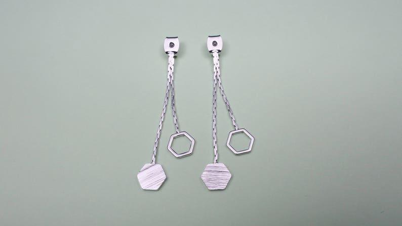 Original rhodium plated brass and copper Palladium Nickel free plating Satin Geometric chain earring stopper 2pcs EM-11R