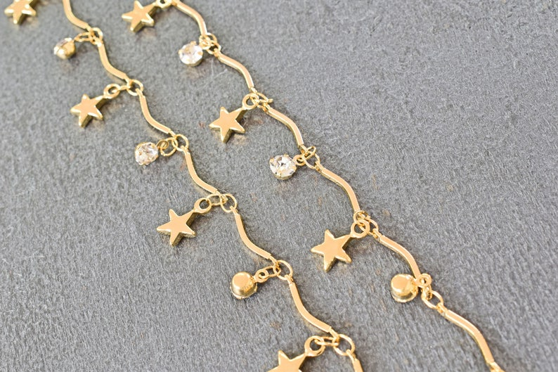 Nickel free palladium 1m 16K gold plated brass Chain Star and Clear round charm chain Handmade chain CE-02GNF Cubic zirconia charm